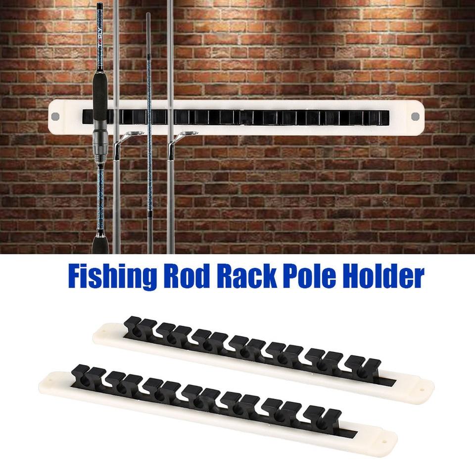 WALL MOUNT HORIZONTAL FISHING ROD RACK BOAT GEAR POLE STORAGE STAND HOLDER