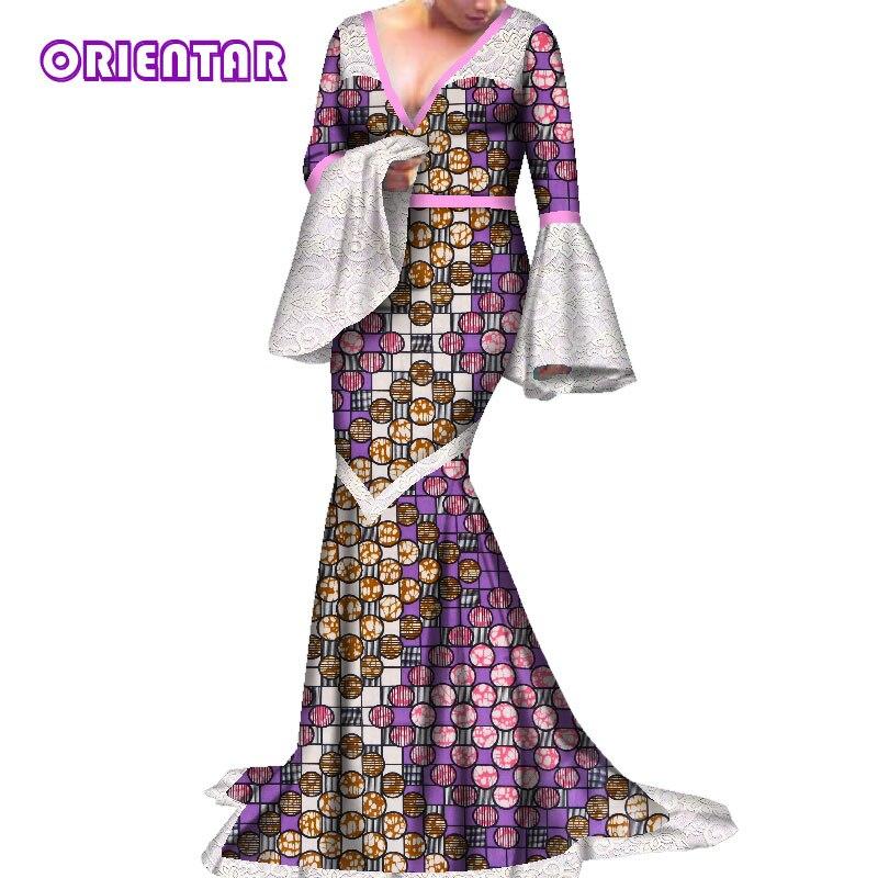 Aliexpress Com Buy Elegant Flare Sleeve Wedding Dress: Women African Dresses Long Lace Flare Sleeve Deep V Neck