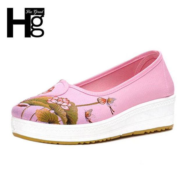 HEE GRAND Sweet Women Casual Shoes Spring Autumn White Pink Floral Printing Canvas Platform Shoes for Women XWD5211