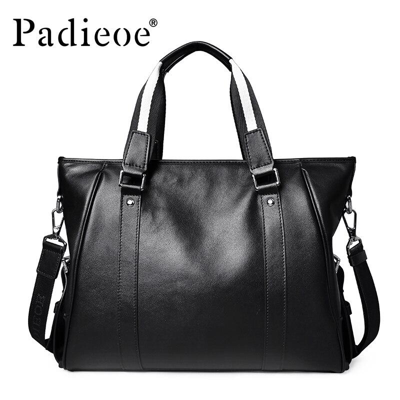 Padieoe Famous Brand Men's Briefcase Men Messenger Bags Genuine Cow Leather Tote Bag For Male Business Men Laptop Bag Male Bags
