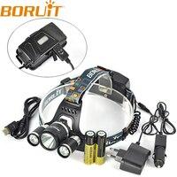 Boruit RJ 5001 3 XM L L2 LED 5000LM Headlamp USB Rechargeable Led Head Light Lamp