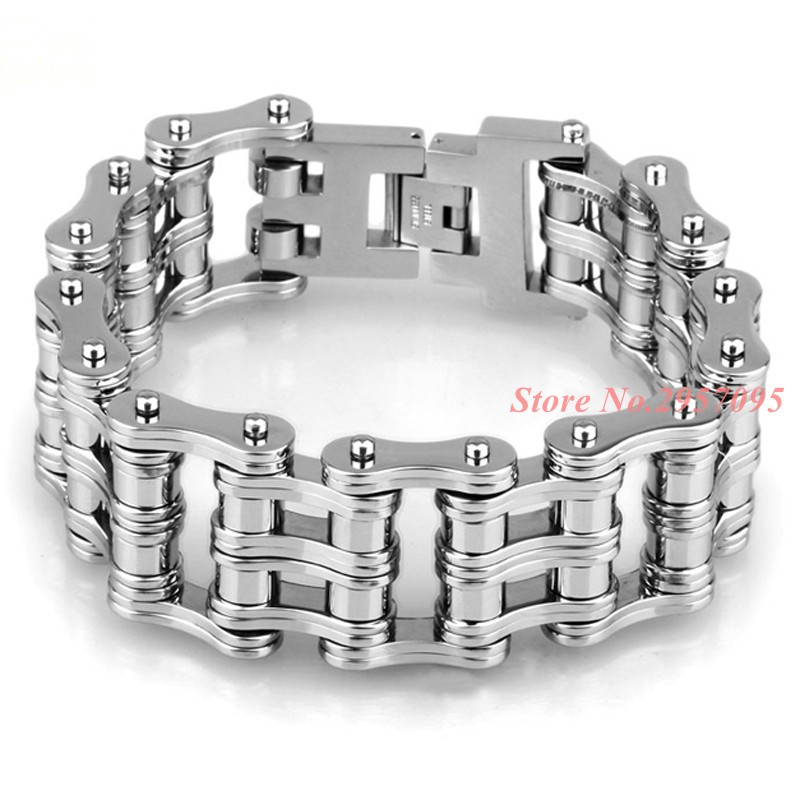 24mm Width Punk Style 316L Stainless Steel Bracelet Men Biker Bicycle Motorcycle Chain Men's Bracelets Mens Bracelets & Bangles buy mens string bracelets