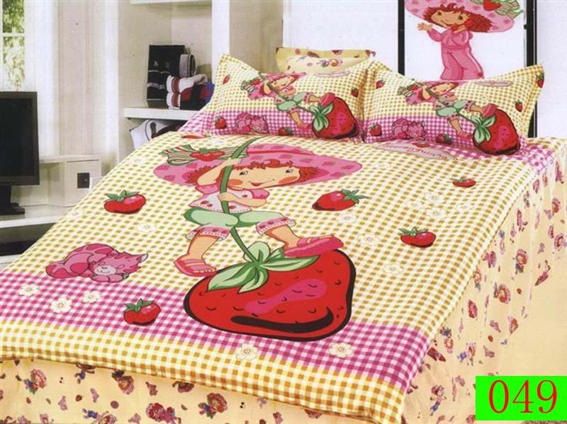 Cartoon Swing Strawberry Twin Single Bed Cotton 3Pcs