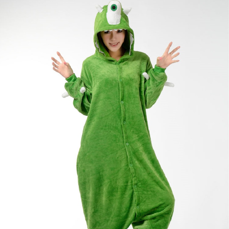Kigurumi cartoon sullivan mike monster university long sleeve hooded onesie Adult one-piece animal pajamas Pijama monster inc