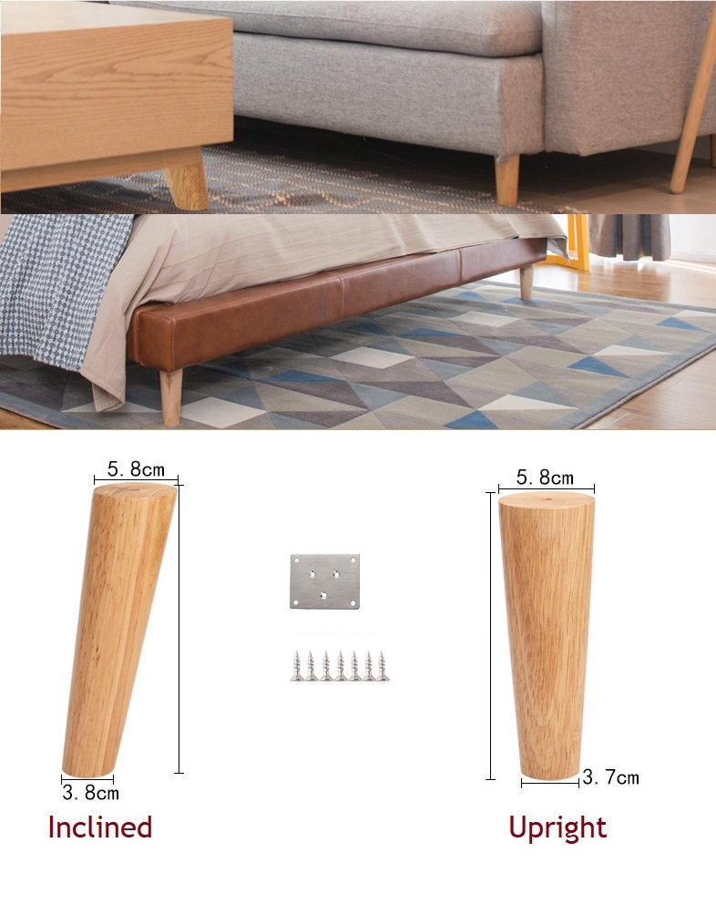 2Pcs/Lot Premintehdw Solid Rubber Wood Furniture Sofa Bed Cabinet Stool Seat Chair Feet Leg Taper Inclined Upright Clear Paint