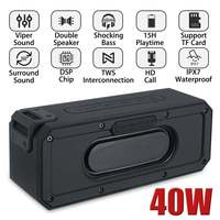 40W bluetooth Speaker Column Portable Speaker IPX7 Waterproof Subwoofer with 360 Stereo Sound Outdoor Speakers Boombox