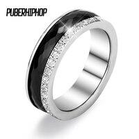 Hot Sale Half Row Rhinestone Inlaid Zircon Anniversary Ring For Women Men 6mm Stainless Steel Ceramic Rings Anniversary Jewelry