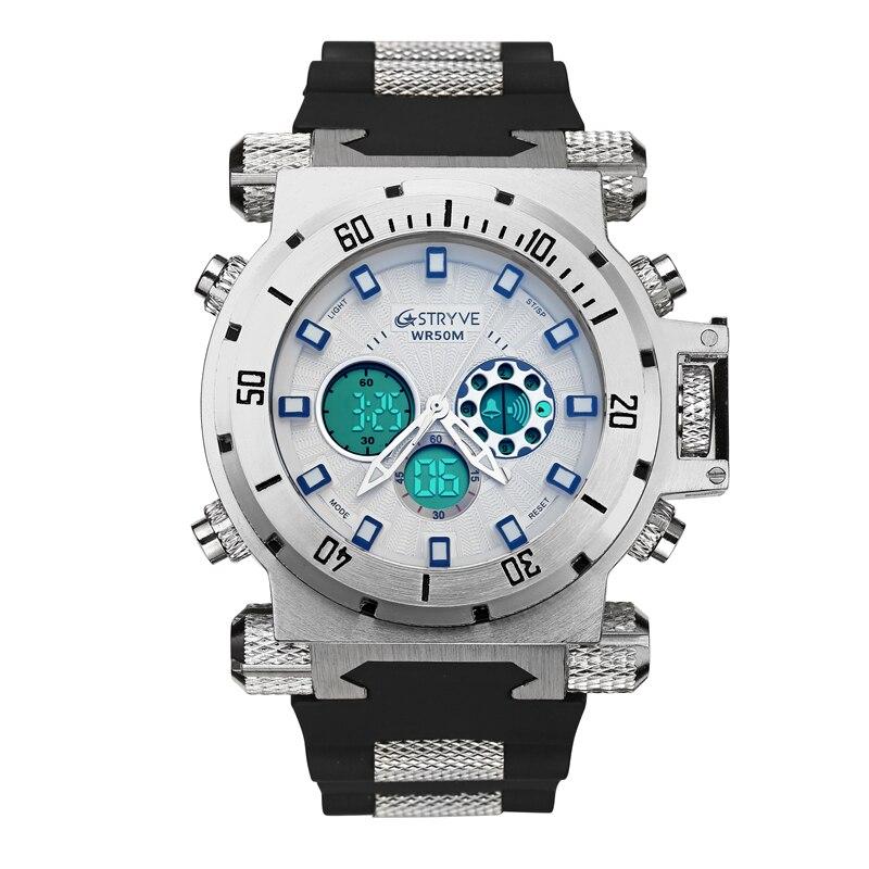 luxury STRYVE brand Men military sports watches Dual Time Quartz Digital analog Watch rubber band wrist watch relogio masculino 5