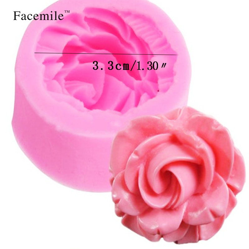 3d Rose Flower Silicone Mold Fondant Gift Decorating Chocolate Cookie Polymer Clay Resin Baking Molds Pink Pottery & Ceramics