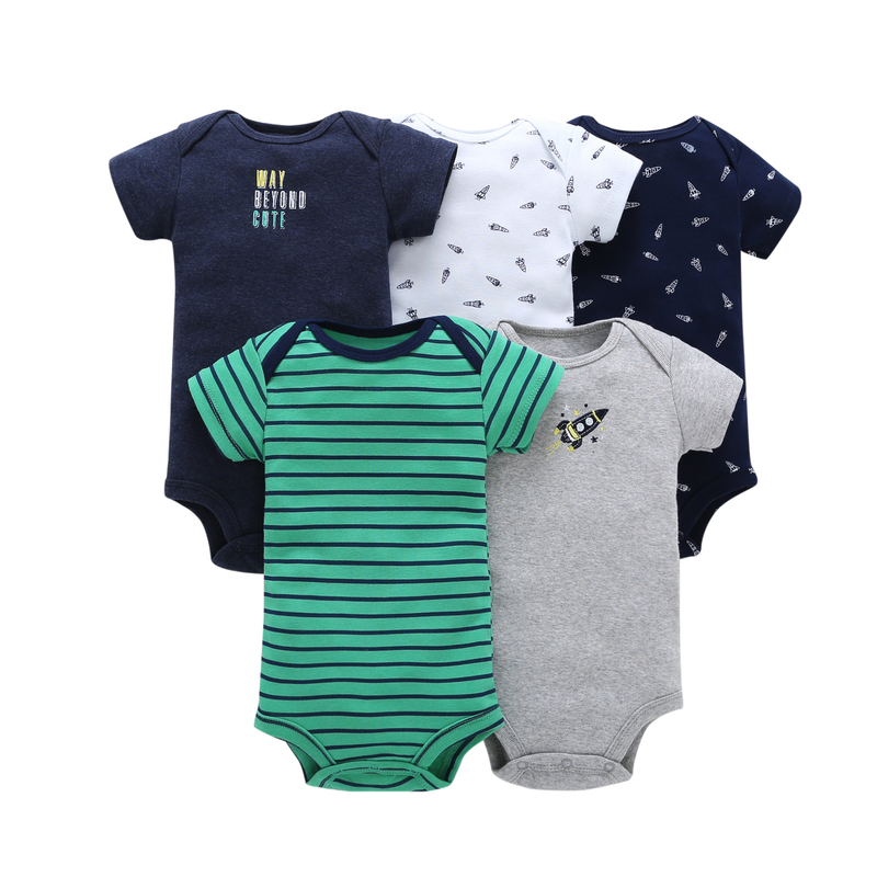summer baby clothing set cotton,infant baby boy short sleeve print   rompers  ,5pcs/lot new born baby clothes,unisex toddler costume