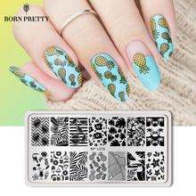 BORN PRETTY Nail Stamping Template Plate Flower Moon Compass Rectangle Manicure Nail Art Image Plate for DIY