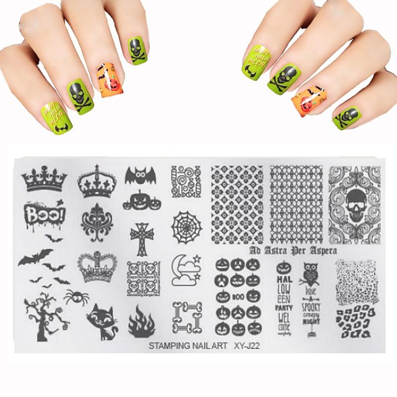 Nieuwe XYJ Set Nail Art Sjablonen Kit bloem Kerstboom Staal voor Nail Stempel Afbeelding DLY Nail Stamping Platen Poolse groothandel