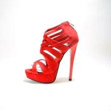 Faux Leather Women's Stiletto Heel Platform Sandals Shoes chaussure femme 2015 Ankle Wrap Women Fashion Comfortable Shoes