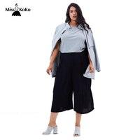 Misskoko 2017 Women New Fashion Casual Loose Big Size Solid Color Basic Chiffon Summer Wide Leg Pants Trousers Plus Size 3XL-7XL