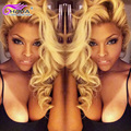 Grado 7A Pelo Ruso 613 Rubia Armadura Del Pelo Humano de la Onda Del Cuerpo Bundles 3 unids/lote Queenbeauty Honey Blonde Virgen Del Pelo Rubio teje