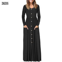 Zkess Women Fashion Button Front Stylish Long Dress Casual Loose O Neck Long Sleeve Ruched Flowy Maxi Dress with Pockets 610503