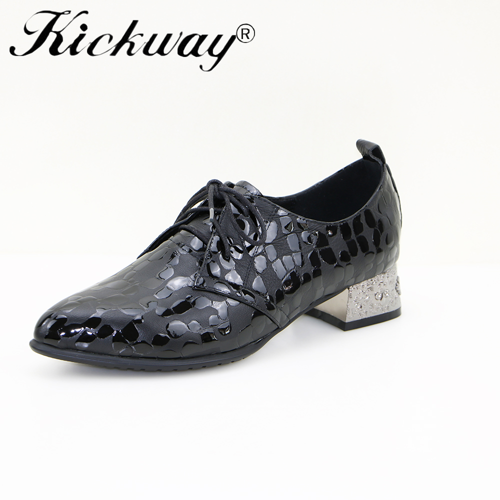 Kickway genuine leather oxford shoes women med heels pointed toe pumps lace up heels genuine leather thick heels plus size 34-43Kickway genuine leather oxford shoes women med heels pointed toe pumps lace up heels genuine leather thick heels plus size 34-43