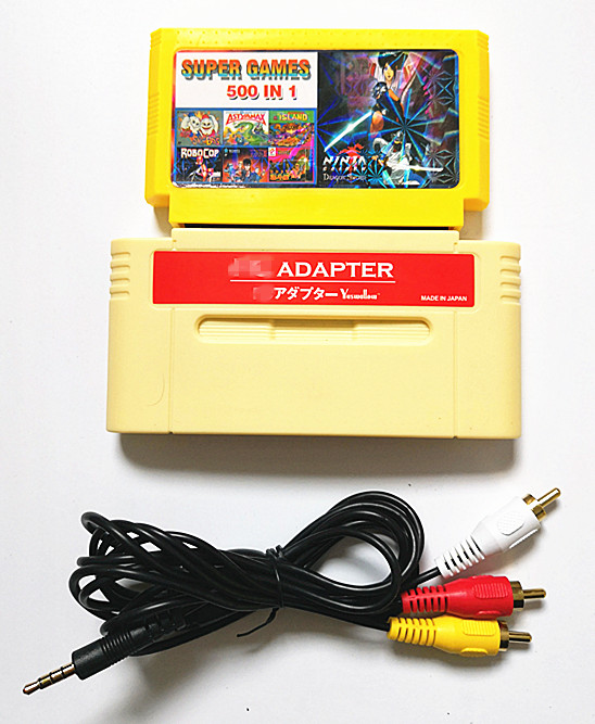 For F-C Adapter For SNES Or Japanese 16bit Console, Play 60Pins 8-bit Game Cartridge On 16-bit Console Whit 500 In 1 Game Cart