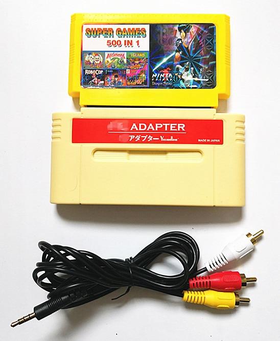 Carte de jeu en 8 bits, pour adaptateur de F-C pour console deux ou Console japonaise 16 bits, jeu des cartouches de jeu 500 en 1