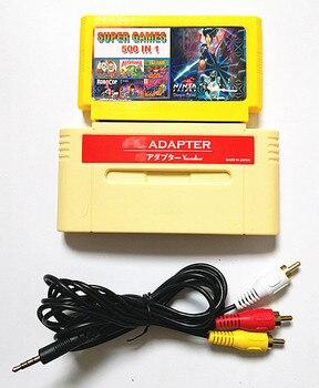 Para Adaptador F-C para 16bit console SNES ou Japonês, jogar 60 Pinos 8-Cartucho de Jogo pouco em whit 500 em 1 16-bit Console jogo carrinho
