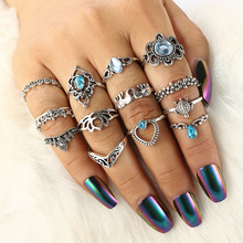 цена на 13 pcs/set Finger Ring Set For Women Heart Totem Hollow Crown Turtle Elephant Blue Crystal Water Drop Knuckle Ring Accessories