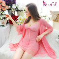 Plus Size Red Black Purple Pink Mesh Robe Gown Sets Sleeping Women Nighties Lace Bathrobe Sexy Lingerie Robe Nightgown Sleepwear