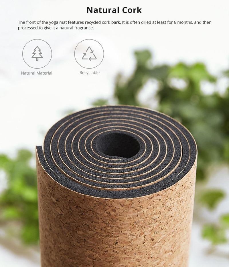 XIAOMI YUNMAI 4mm Natural Rubber Soft Cork Yoga Mat 6