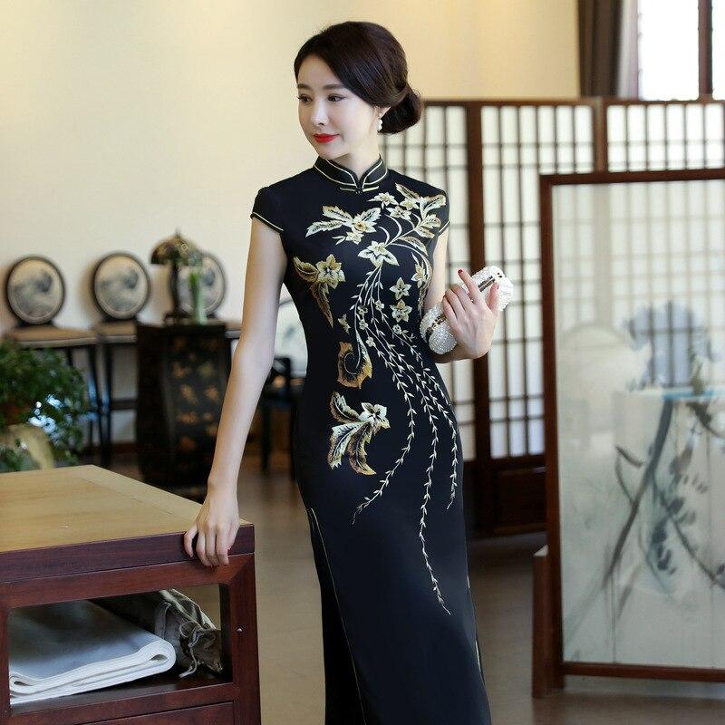 Navy Blue New Stain Women s Short Sleeve Sexy Qipao Dress Chinese Style  Mandarin Collar Formal Long Flower Cheongsam M-3XL 8669fc401f46