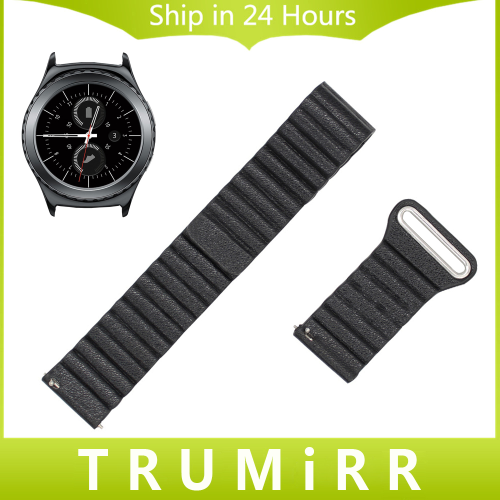 Genuine Leather Watch Band 20mm Quick Release Strap for Samsung Gear S2 Classic SM-R732 & SM-R735 Magnetic Lock Bracelet 5 Color genuine leather watch band strap for samsung galaxy gear s2 classic r732 black