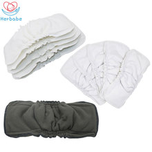 где купить Herbabe 5pcs Baby Diapers Insert Reusable for Newborn Bamboo Charcoal Nappy Changing Liners Washable Baby Cloth Diaper Nappies по лучшей цене