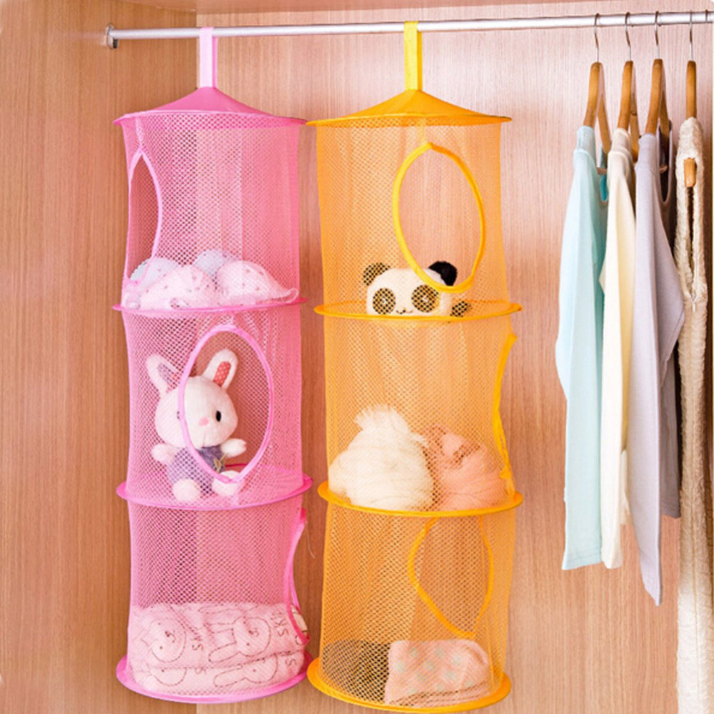 Multifunctional Storage Bag 3 Shelf Hanging Storage Net Kids Toy Organizer  Bag Bedroom Door Wall Closet Organizers HG0252