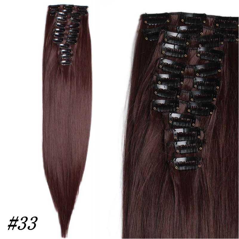Радость и красота 24 дюймов г 200 г Длинные прямые 22 зажимы в накладные волосы укладки синтетических волос шиньон 12 шт./компл. 10 цвет
