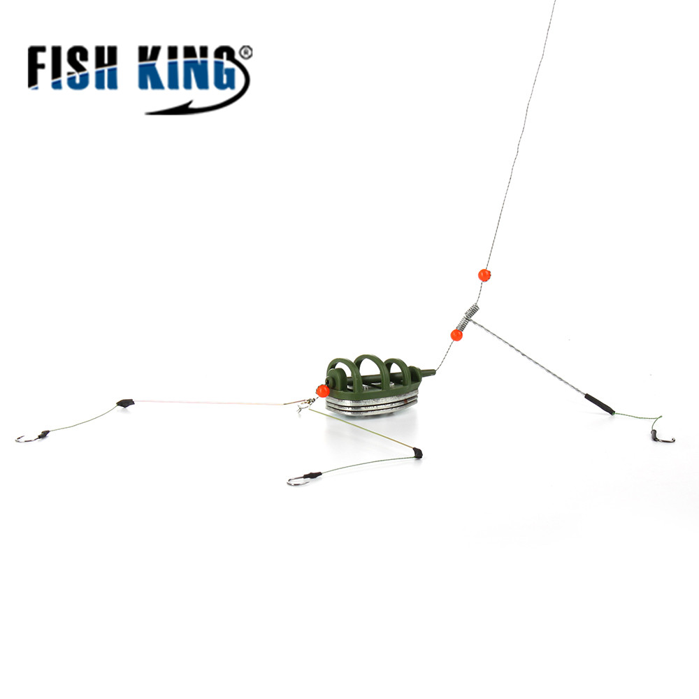 FISH KING 1PC Fish Holder Fishing Accessory With Lead Bait Cage Inline Hook Method Feeder Lure For Fishing Tackle