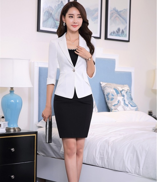 2a6fb407a820 2016 Spring Summer Professional Business Work Suits Jackets And Skirt  Formal Uniform Style Blazers Outfits OL Clothing Set