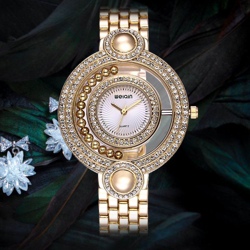 WEIQIN Brand Ladies Gold Watch Fashion Bead Rhinestone Round Dial Analog Quartz Dress Watches Women Wateroroof Gift reloje mujer сумка для ноутбука pc pet pcp a1117