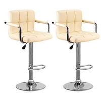 HOT GCZW 2 Faux Leather Kitchen Breakfast Bar Stool Bar Stools Swivel Stools Style A Cream