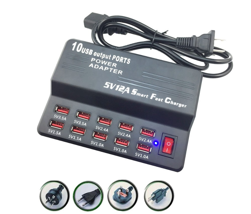 Universal 10 Port Quick Smart USB Wall Charger US EU UK Plug Travel AC Power Adapter