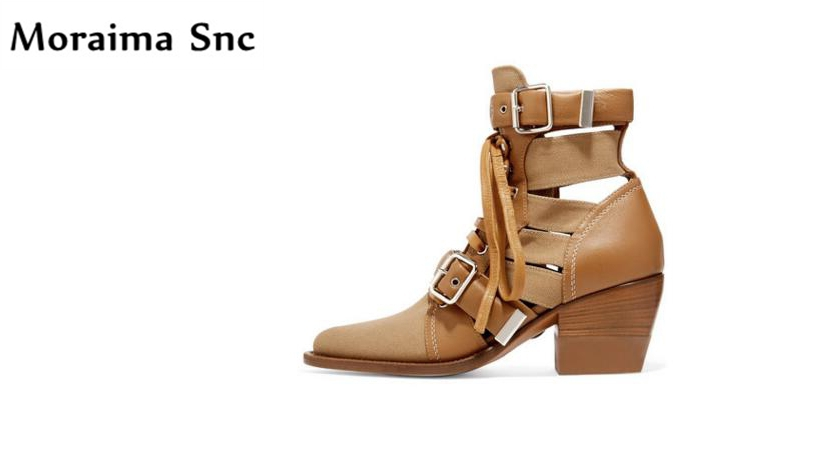 Moraima Snc fashion women Ankle boots pointed toe platform med heels lace-up cut-out Buckle Decoration cool Riding boots moraima snc chic women winter platform pointed toe mid calf boots solid black lace up fringe vintage suede high heel