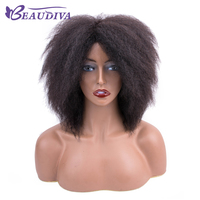 Peruvian Afro Kinky Curly Human Hair Wig No Lace Front Human Hair Wigs For Black Women Remy Hair Machine Made Wig