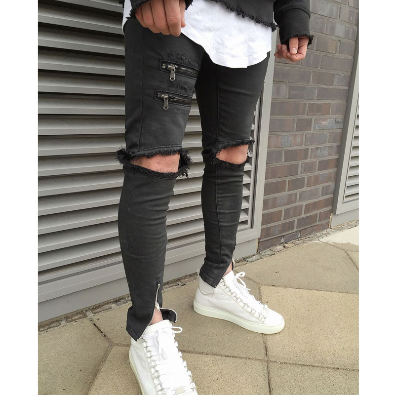 Brand Famous Jeans Men NEW 2017 Black Denim Biker Skinny jean slim elastic Hiphop Washed Fear Of God Ripped Jeans For Men thin stretch jeans ripped denim trousers slim skinny black jeans men new famous brand biker jeans elastic mens jeans l702