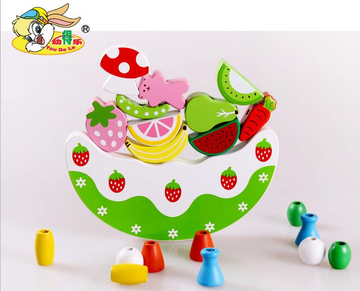 Artificial Cake Fruit Building Blocks Balancing Frame Buttressed Music Child Puzzle Baby Assembling Toys