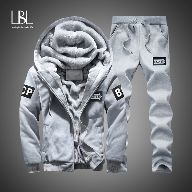 Winter Innere Fleece Hoodies Männer 2018 Casual Kapuze Warme Sweatshirts Männlichen Verdicken Trainingsanzug 2 stück Jacke + Hose Männer Moleton masculino