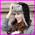 2015 Fashion Women's Winter Warm Fur Bomber Hats Sequins Cap With Ears Flaps Free Shipping
