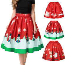 6a5aad7045 Women Xmas Skirts Evening High Waist Party Clothes Pleated Bust Pretty  Bubble Skirt(China)