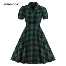 Women Dress Short Sleeve Plaid Print Dress