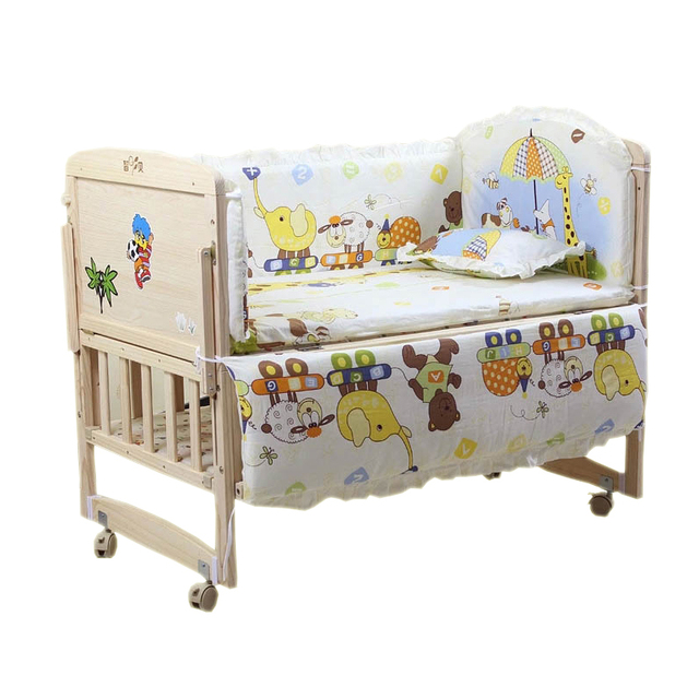 5PCS/SET Baby bedding sets 100% cotton baby bedclothes Cartoon crib bedding set include pillow bumpers mattress