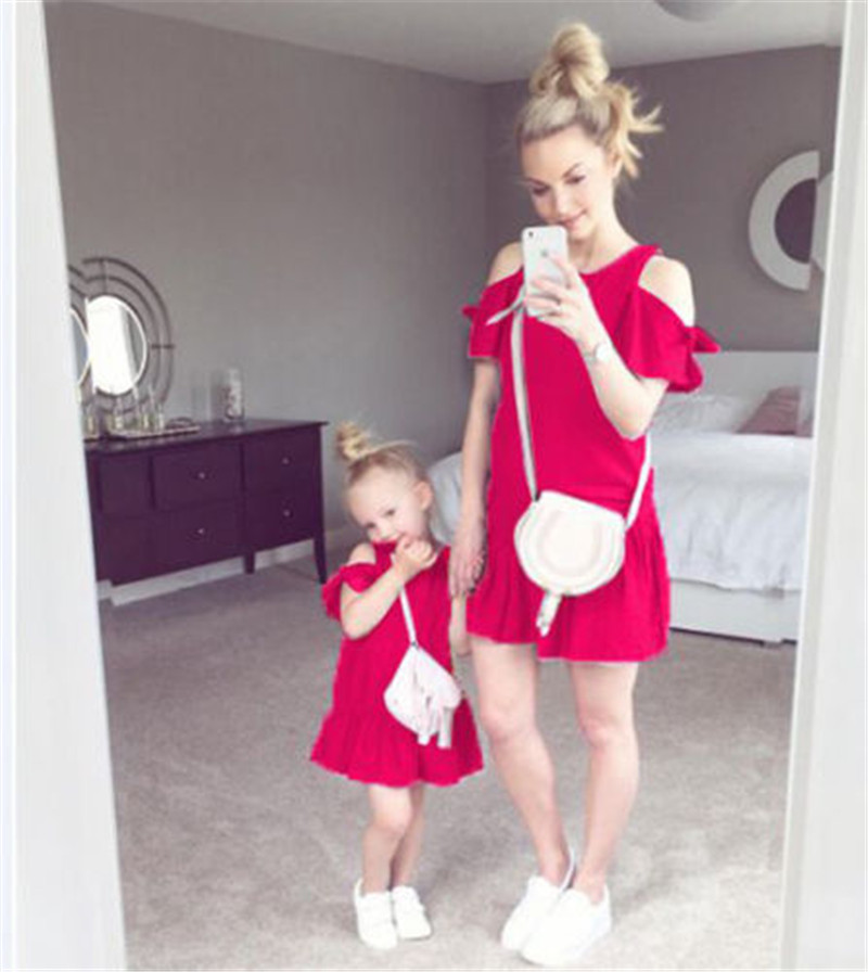 Family Matching Outfits Mother and Daughter Women Girls Dress Off Shoulder Short Sleeve Lace-up Cotton Party Dresses Clothes New