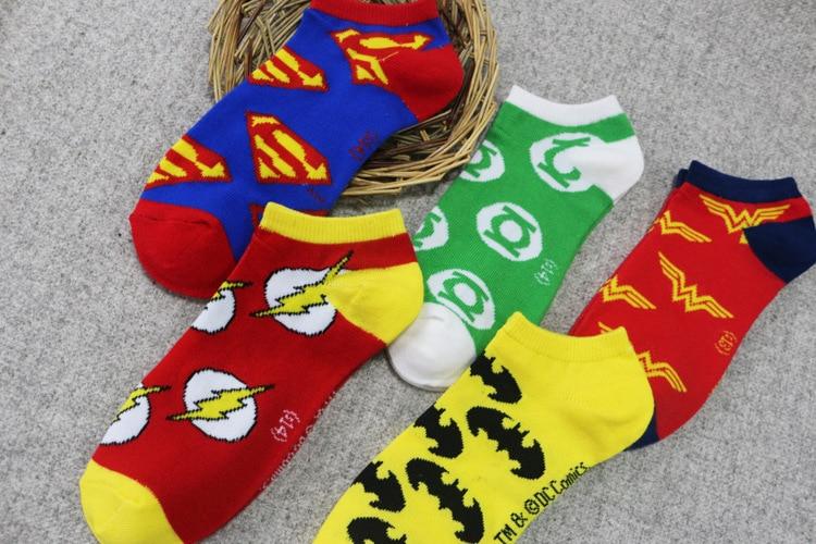 5 стилей Супермен Бэтмен Зеленый Фонари Косплэй носки Для женщин Для мужчин флэш-Wonder Woman носки до лодыжки пара влюбленных спортивные носки