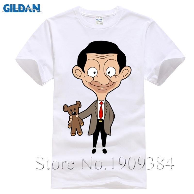 Взрослых улыбка Mr. bean последние футболки летом прохладно Дизайн человека о-образным вырезом хлопок футболка мужской короткий рукав большой...