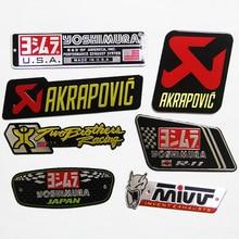 10pcs lot Motorcycle 3D Aluminium Heat resistant label exhaust pipe Cool Yoshimura Akrapovic decals Universal Stickers